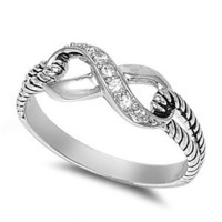 Sterling Silver Infinity Rope Ring with Clear Cubic Zirconia Stones: Jewelry: Amazon.com