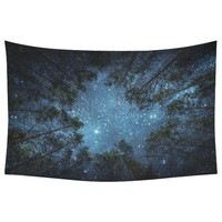 Psychedelic Forest Trees and Stars Starry Sky Tapestry