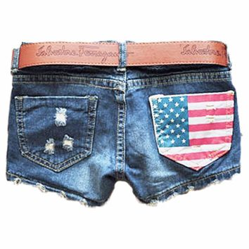 Sexy Summer Ripped Low Waist Women Denim Shorts Female Hot Jeans Short Pants Lady Beach American Flag Bermuda Feminine Femininas