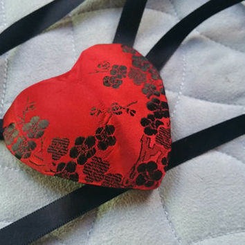 Red and Black Satin Heart Eyepatch Eye Patch Floral Design with Black Ribbon Ties READY TO SHIP