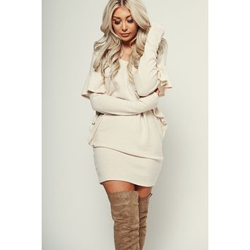 Bewitched Flutter Sleeve Dress (Taupe)