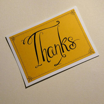 Classis and elegant handmade thank you greeting card.