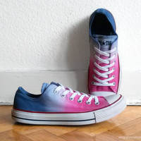 Hot pink & ocean blue ombre Converse All Stars, dip dye upcycled sneakers, Chucks, eu 40 (uk 7, us wo 9, us men's 7)