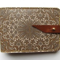 Leather card case/ Oyster card holder Antique lace by tovicorrie