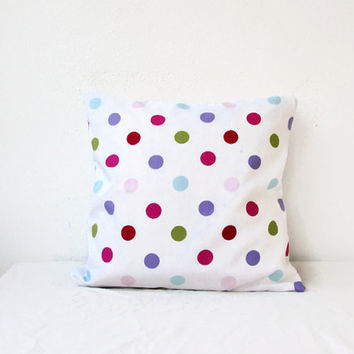 Spotty pillow cover, cotton cushion cover, pastel spot pillow, kid's room decor, pastel childrens decor, nursery decor, handmade in the UK