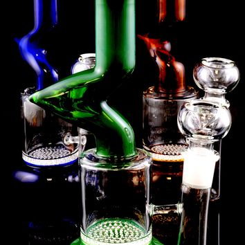 Small Stemless GoG Colored Glass Water Pipe with Honeycomb Perc - WP1356