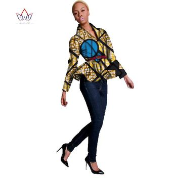BRW Bazin Riche African Print Wax Coat Dashiki Blazer Plus Size 6xl Africa Style Clothing for Women Crop Top Casual Coat WY094