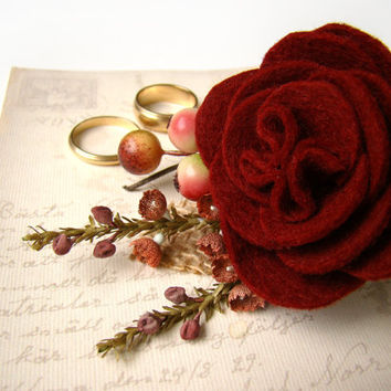 Mens Boutonniere, Felt Flower, Wedding Flower, Fall Wedding, Wine, Red Rose, Groom, Groomsmen, Lapel Flower