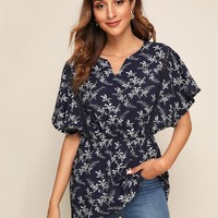 Ditsy Floral Crochet Panel Notched Neck Peplum Top
