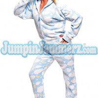 Blue Sleepy Stars Hooded Adult Pajamas - Chenille Footed Pajamas - Pajamas Footie PJs Onesuits One Piece Adult Pajamas - JumpinJammerz.com
