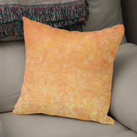 «Yellow and orange swirls doodle», Numbered Edition Coussin by Savousepate - From 25€ - Curioos