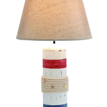 Stylish White Wooden Buoy Table Lamp with Red and Blue