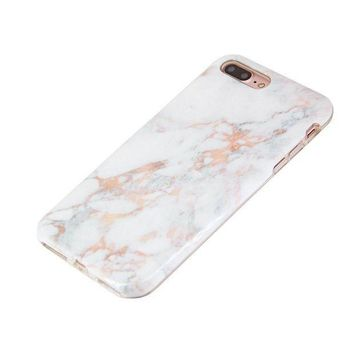 PEAPGQ6 iPhone 8 Plus Case iPhone 7 Plus Case (5.5') uCOLOR Rose Gold Marble Ultra Slim Hard Shell Soft TPU Dual Layer Protective Case for iPhone 7 Plus/8 Plus with Slim Tempered Glass Screen Protector