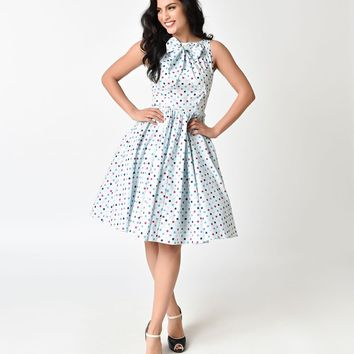 Unique Vintage 1950s Light Blue & Multi Polka Dot Doheny Swing Dress