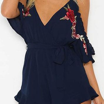 Rosy Romance Rose Floral Embroidery Off The Shoulder V Neck Ruffle Romper