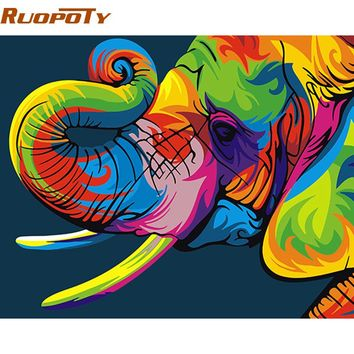 Abstract Colorful Elephant DIY Paint Numbers Kit: Includes Acrylic Paints, Brushes and Canvas