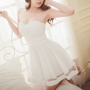 hot strapless net cute dress