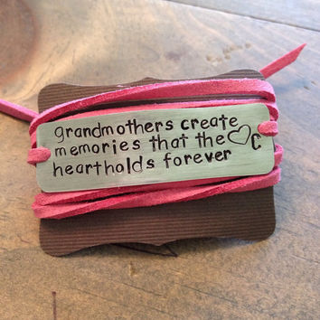 Handstamped grandmother bracelet, grandma gift, mothers day, grandmother, grandparents