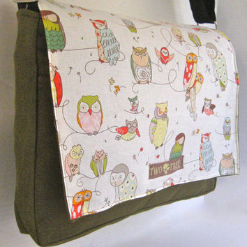 OLIVE White Wise OWL MeSSENGER Book Laptop Diaper BAG