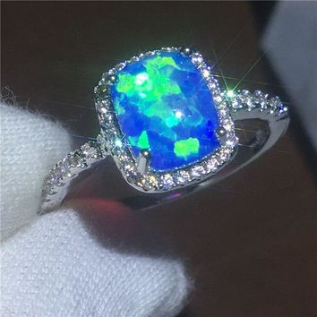 Handmade Lovers Anniversary ring Blue Opal Cz White Gold Filled Party wedding band rings for women Men Jewelry Gift