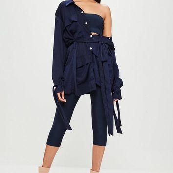 Missguided - Carli Bybel x Missguided Navy Slinky Bandeau Top