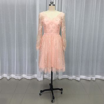 Newest Coral long sleeves appliques beading short lace cocktail dresses knee length prom dress vestido coquetel CKD-06