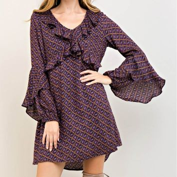 Ruffle Detail Front Flare Sleeve Dress