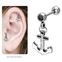 Cartilage Tragus Dangle Anchor Earring