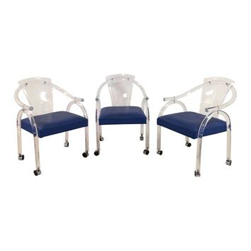 Pre-owned Charles Hollis Jones Style Lucite Chairs - S/3