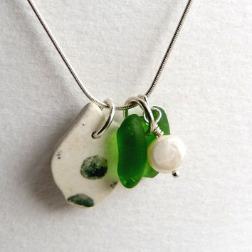 Sea Glass Beach Pottery and Freshwater Pearl by thestrandline