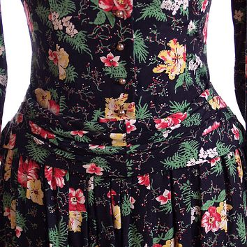 Vintage Printed Rayon Dropped Waist  Dress Jonathan Logan 1940'S NOS 36-26-Free