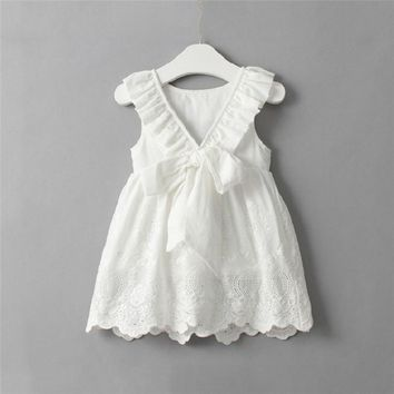Lace Dress for Girls Toddler Kids Baby Girls Princess Party Clothes Bowknot Sleeveless V-Neck Tutu Dresses Vestidos