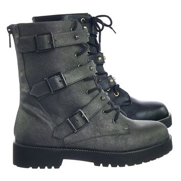 Direct09 Grunge Biker Lace Up Combat Boots w Metal Stud Strap, Rubber Lug Sole