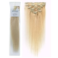 Emosa Luxury 100% Real Human Hair Clip in Extensions Platinum Blonde Hair Dye(#613 Blonde,20inch,70g)