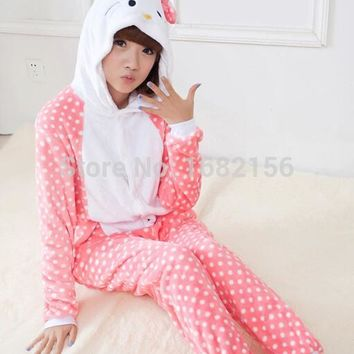 Winter New Hello Kitty Costume For Women Pyjama Pajamas Flannel Hooded Clothing For Home Adult Children Cute Animal Onesuit