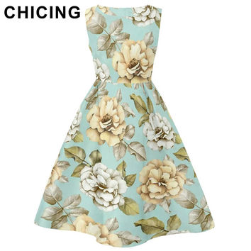 CHICING Women Vintage Floral Printed Dresses 2016 Autumn Summer Sleeveless Fit Flared Pleated Tank Midi Dress Vestidos A1609006