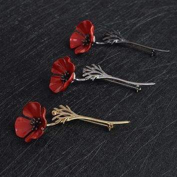 3D Vintage Red Poppy Flower Squid Brooch Pin Collar Corsage Gold Silver Black Pins Shirt Badge Vintage Jewelry Gift for Women