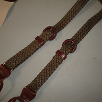 Mens Vintage Trafalgar Suspenders Braces Dark Olive Green Waxed Cotton and Leather Gold Hardware