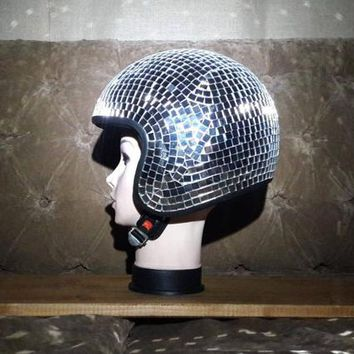 Disco Mirror Ball Helmet ~~ Retro style for Burning Man, Rave, Circuit Party Hat, Halloween, New Years, Glow, Sparkle, performance outfit