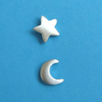 Tiny Moon Star Stud Earrings Small Women Girl Teen by zoozjewelry
