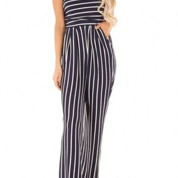 Blue White Striped Sleeveless Jumpsuit