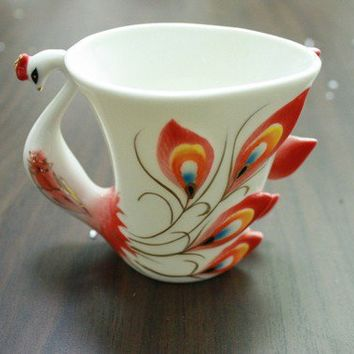 $14.99 Porcelain Red Peacock tea coffee cup set by CraftingGeneral