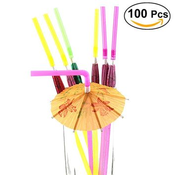 100-Count Fluorescent Straws with 3D Paper Cocktail Umbrella Decorations