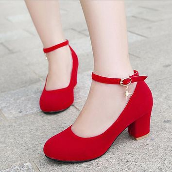 spring red size 31 32 33 small round toe medium heeled shoes banding bandage 41 42 43 44 45 thick square heel wedding shoe women