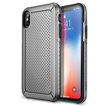 DCCKNY1 ESR iPhone X Case, Rugged Heavy Duty Bumper Armor Case [Shock-Absorption][High Wireless Charging Efficiency] for iPhone X (Grey)
