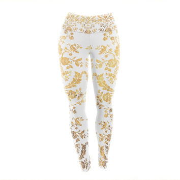 "KESS Original ""Baroque Gold"" Abstract Floral Yoga Leggings"