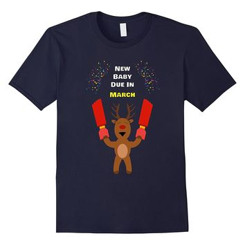 New Baby Due In March 2018 Baby Shower Christmas T-Shirt
