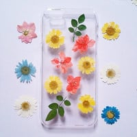 iPhone 5C Case pressed flower clear case for apple iphone 4 4s 5 5s 5c 6 6 plus 6s 6s plus pressed flower iphone case flower phone case