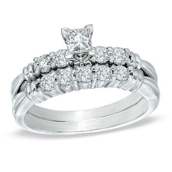 3/4 CT. T.W. Princess-Cut Diamond Bridal Engagement Ring Set in 14K White Gold
