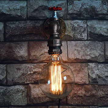 Single Head Retro Rustic Water Pipe Wall Lamp Vintage Fixtures Loft Style Industrial Edison Wall Sconce